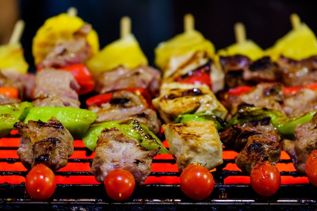 Night barbeque on the grill