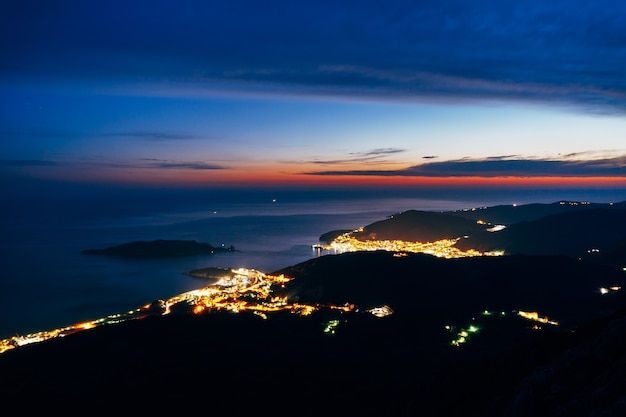 Night budva montenegro the new town the view from the highest