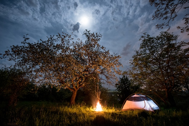 Night camping. illuminated tourist tent near campfire under trees and night sky with the moon