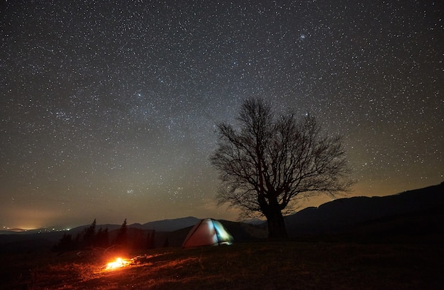 Night camping in mountain valley under starry sky