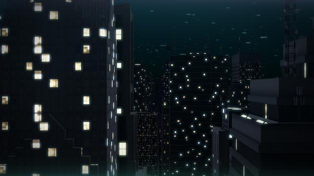 Ночные городские здания. 3d-рендеринг cityscape