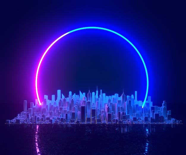 Ночные городские здания в неоновых огнях растущий мегаполис застройки горизонта