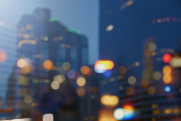Night city lights bokeh background, lights blurred building bokeh colorful of city night