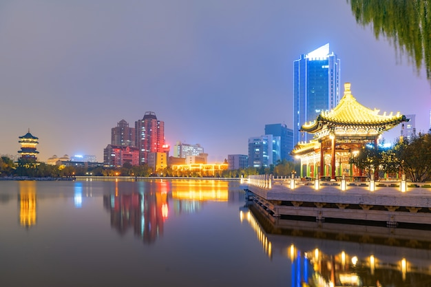 At night, the city skyline is in taiyuan, shanxi province, china