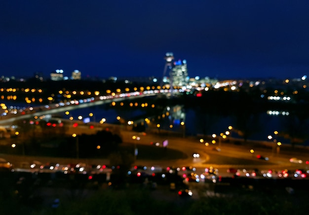Night city view of bratislava with bokeh