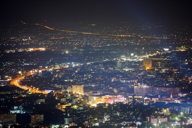 Night cityscape at top mountain view point , chiang mai, thailand