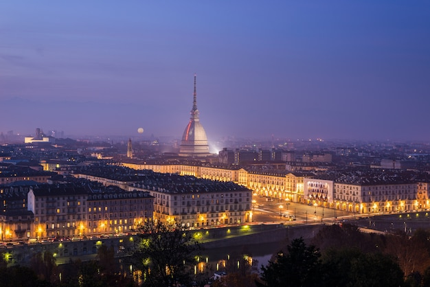 Night cityscape of turin (torino) from above at dusk