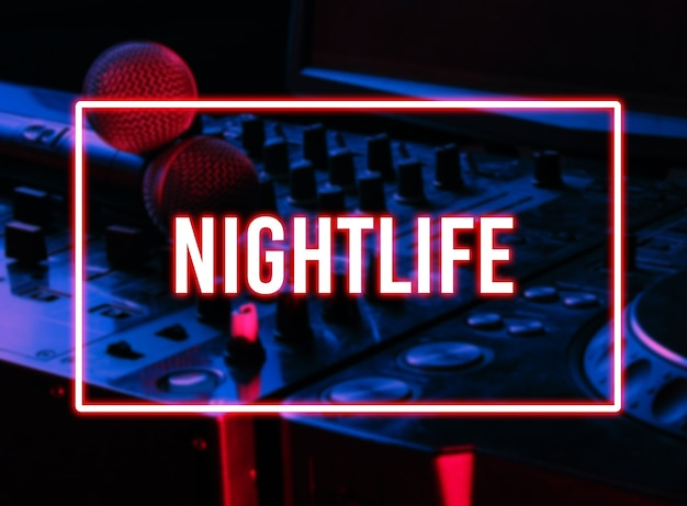 Night club, nightlife concept. disco. two microphone on dj controller