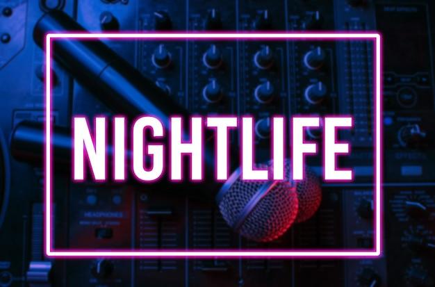 Night club, nightlife concept. disco. two microphone on dj remote