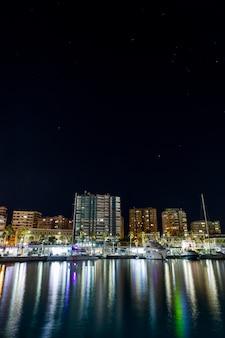 Night coastal city