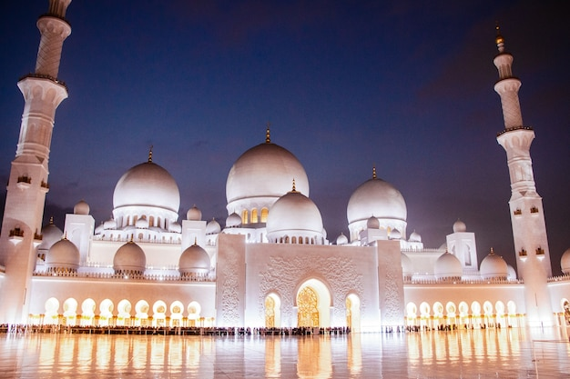 Night covers beautiful shekh zayed grand mosque illuminated with yellow lights