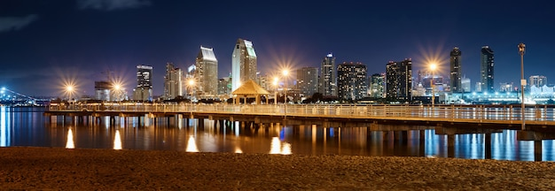 Night downtown cityscape with pier on foreground in san diego