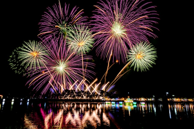 Night fireworks festival for new year