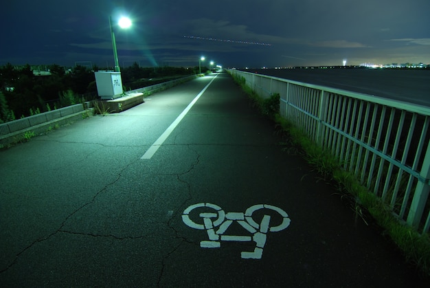 Night image of bicycle road going faraway on the tokyo bay embankment