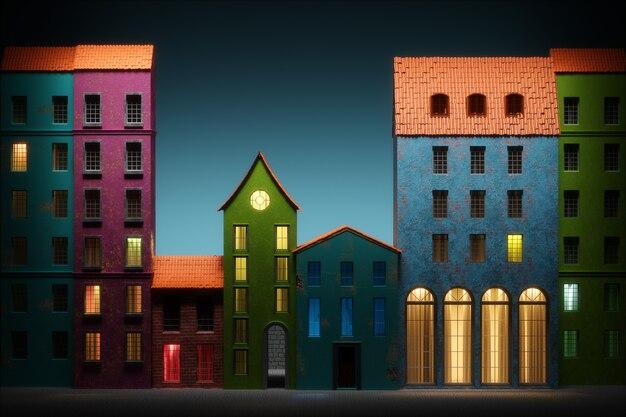 旧市街の漫画風の夜。 3dイラスト
