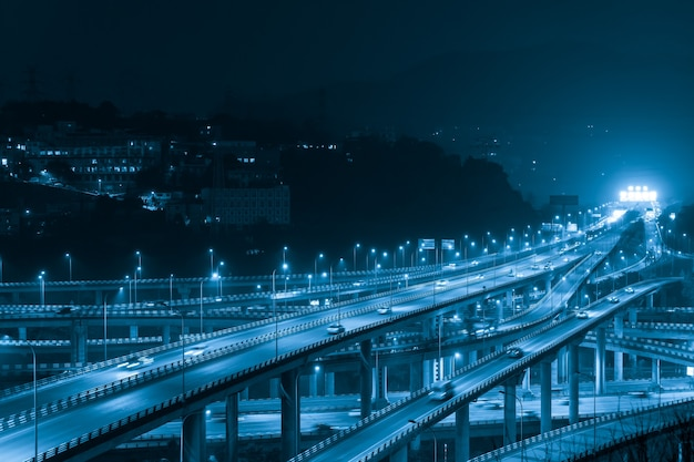At night,the intersecting multi-storey overpass in chongqing, china