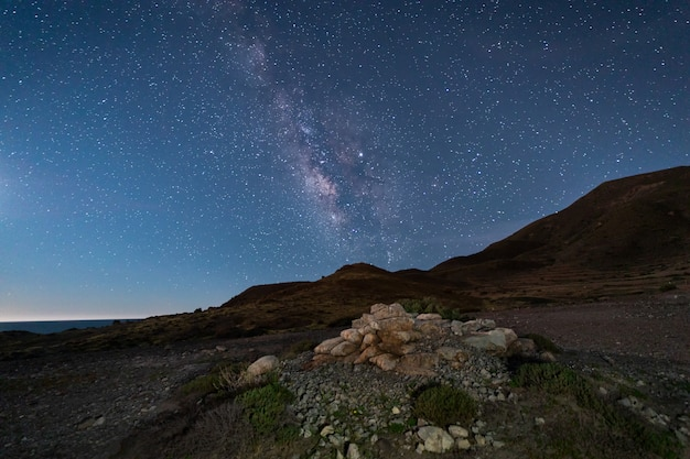 Night landscape on the coast of the escullos. natural park of cabo de gata. spain.