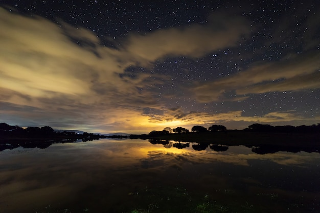 Night landscape in extremadura, spain