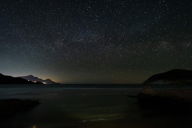 Night landscape on genoveses beach. natural park cabo de gata.