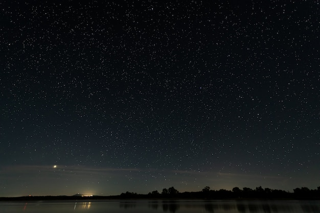Night landscape in the swamp of valdesalor. extremadura. spain.