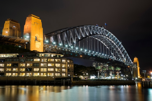 Night landscape of sydney harbor bridge near sydney australia