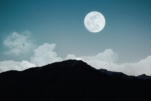 Night landscape with full moon and cloudy sky