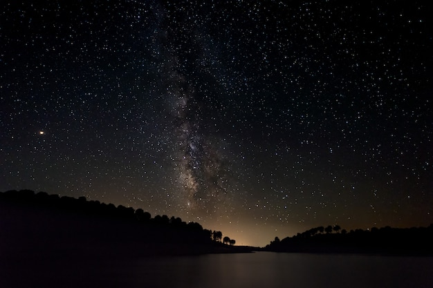 Night landscape with milky way near granadilla. extremadura. spain.