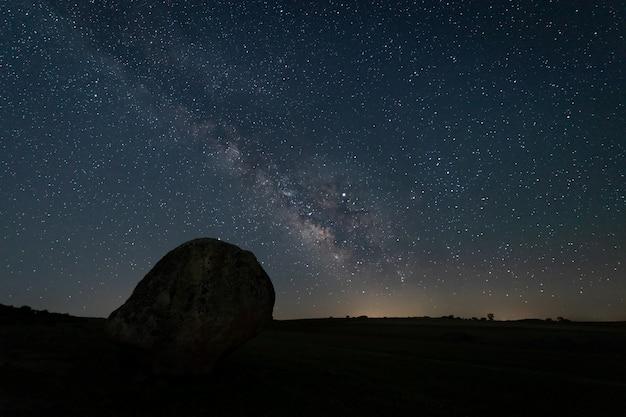 Night landscape with milky way near malpartida de caceres. extremadura. spain.