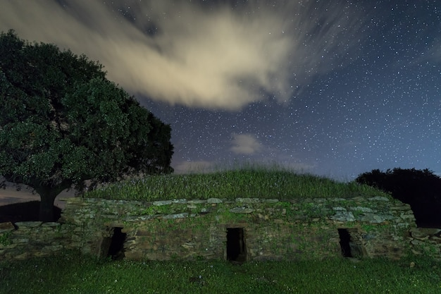 Night landscape with old structure near montehermoso.
