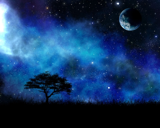 Paesaggio notturno con albero contro il cielo dello spazio