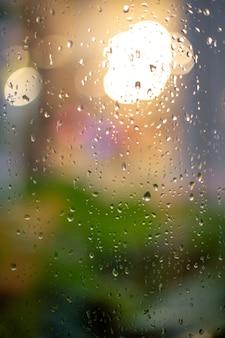 Night lights behind wet glass