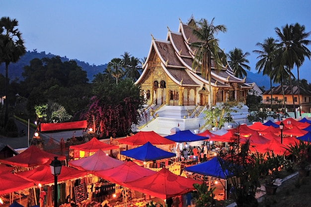 Night market under the wat xieng thong, luang prabang