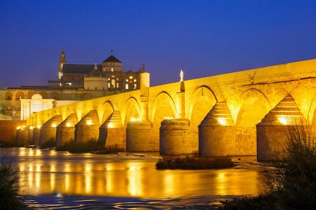 スペイン、コルドバの夜のメスキータとローマ橋