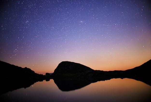 Night over mountain valley range fabulous night