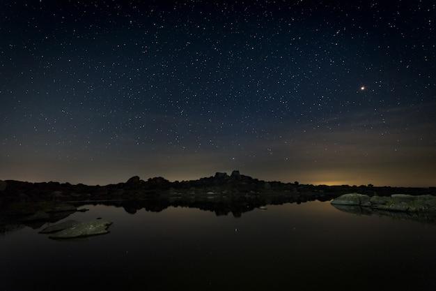 Night in natural area of barruecos.