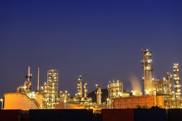Night oil refinery industry, fuel manufacturer with city.