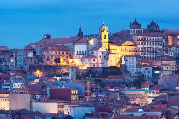 Night old town in porto, portugal.