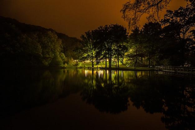 고요한 외딴 호수의 밤