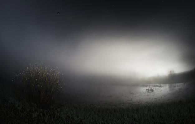 Ночь над озером, густой туман над озером