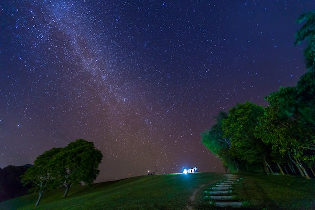 Night photography of milky way in sri nan national park, thailand