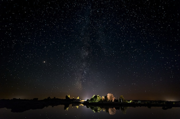 Night photography with milky way in natural area of barruecos.