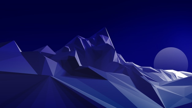 Night polygonal image of a mountainous terrain against the sky and the moon. 3d illustration