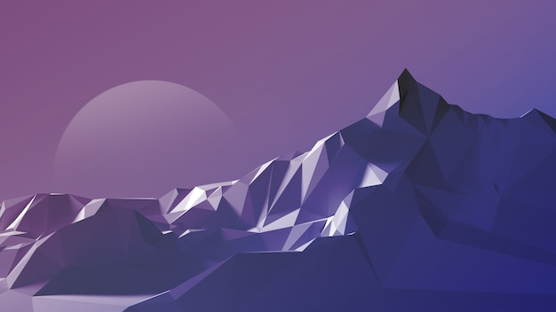 Night polygonal image of a mountainous terrain against the sky and the moon.