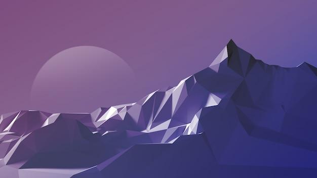空と月を背景にした山岳地帯の夜のポリゴン画像。