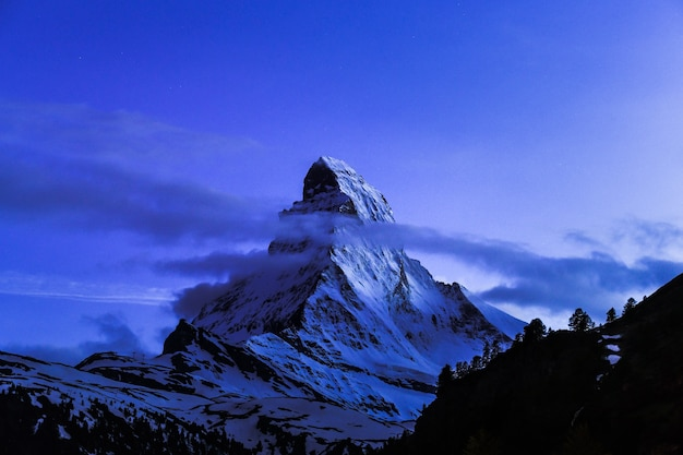 Night scape of matterhorn mountain switzerland alps