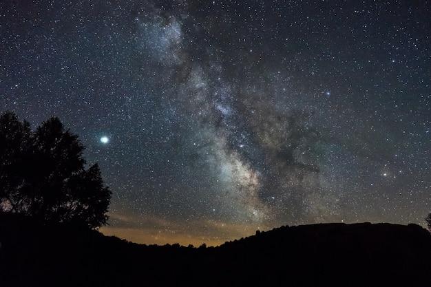 Ночная сцена на природе с млечным путем над горами