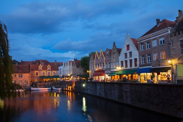 Night scene of old town with canal  in brugge, belgium