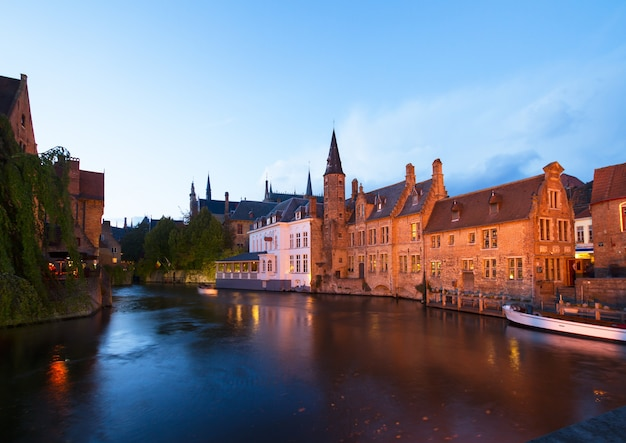 Night scene of old town with canal ,  brugge, belgium