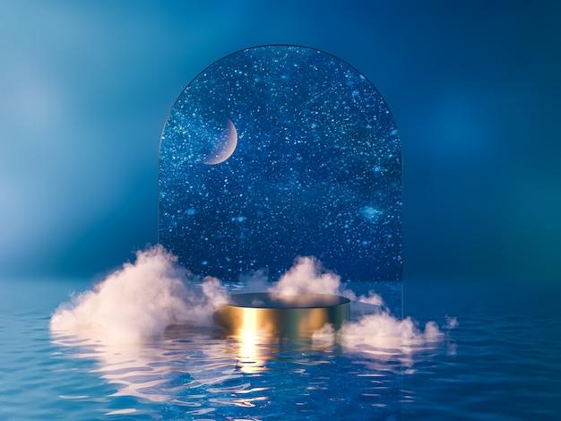 月と雲と夜のシーンの表彰台の背景