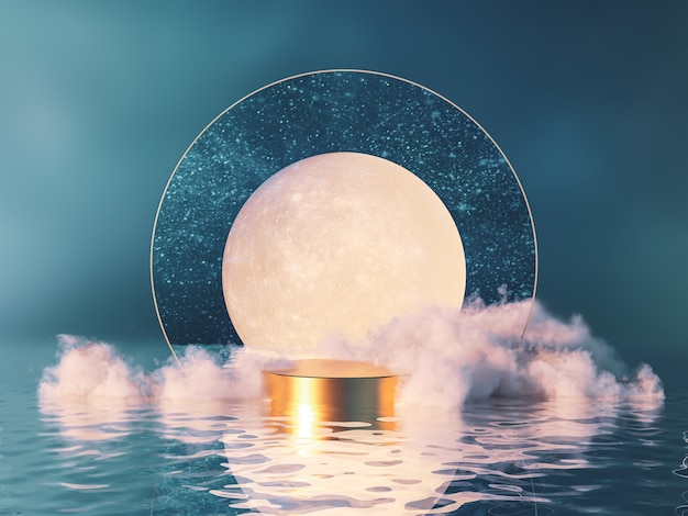 Night scene podium backdrop with moon and cloud